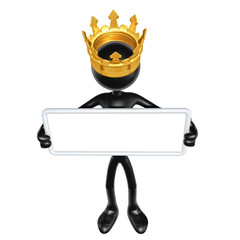 The Original 3D Character Illustration King With A Blank Sign