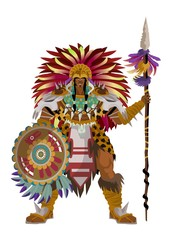 aztec strong warrior with spear
