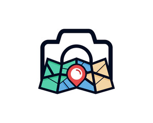 Map Photography Icon Logo Design Element