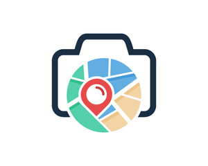 Map Camera Icon Logo Design Element