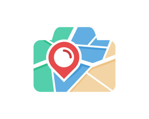 Camera Map Icon Logo Design Element