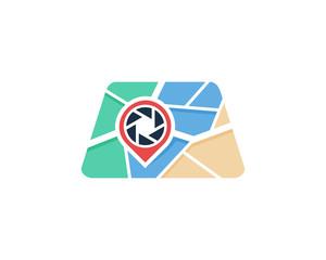 Photo Map Icon Logo Design Element