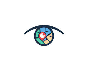 Map Eye Icon Logo Design Element