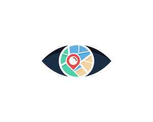 Eye Map Icon Logo Design Element