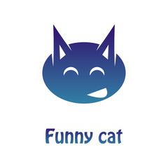 Vector image of a multi-colored logotype of a merry cat. Flat Pattern