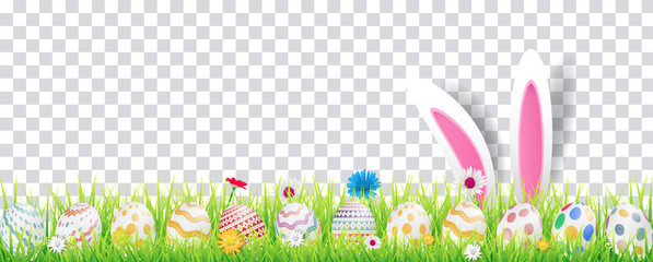 Happy easter image vector. Modern happy Easter background with colorful eggs and spring flower. Template Easter greeting card, vector.
