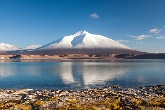 Mountain landscape with the Laguna Verde in the Atacama Desert, Chile, Travel & Active Lifestyle concept adventure vacations outdoor