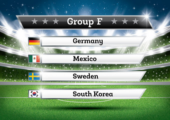 Football Championship Group F. Soccer World Tournament. Draw Result.