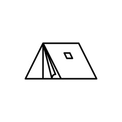 Camp Side Tent Adventure Thin Line Icon Design