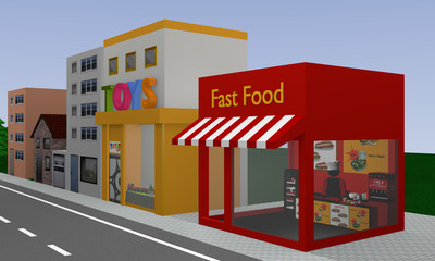 Row of houses with fast food shop and toy shop. 3d rendering