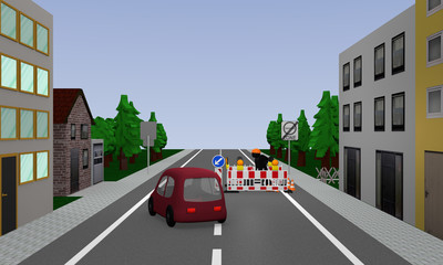 Road with construction site, car, street signs and houses. 3d rendering