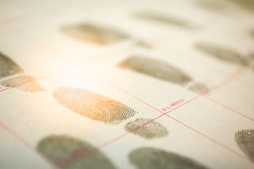 physiological biometrics concept for criminal record by fingerprint in cinematic tone