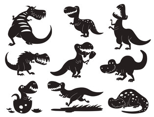 Dinosaurs vector dino silhouette animal tyrannosaurus t-rex danger creature force wild jurassic predator prehistoric extinct illustration.