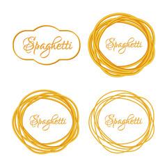 Wall Mural - Set of Realistic Twisted Spaghetti Pasta Circle Frame  logo emblem. Vector illustration