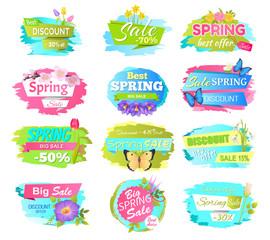 Big Set of Spring Sale Advertisement Labels Flower