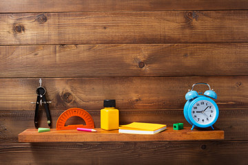 school supplies and tools at shelf