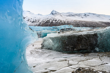 Photo sur Plexiglas Glaciers vatnajokull glacier frozen on winter season, iceland