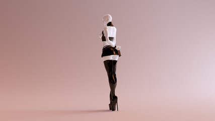 Sexy White Abstract Woman in Thigh High Boots Short Skirt and BDSM Gear 3d illustration