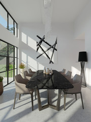 Modern interior composition with table lamp and picture