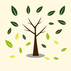 tree icons with beautiful leaves,,Ecology concept autumn with tree background.Vector illustration.