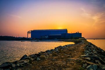 Early morning shot of a shipyard