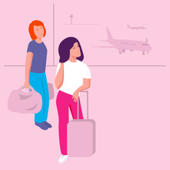 Girls with baggage in airport terminal. Planes on pink background. Vector illustration.