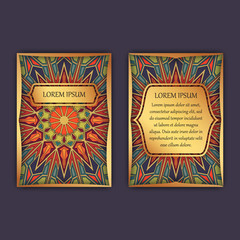 Vintage cards with floral mandala pattern and ornaments. Front page and back page. Luxury design.
