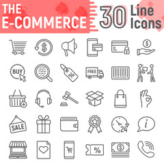 E commerce line icon set, Online store symbols collection, vector sketches, logo illustrations, internet shopping signs linear pictograms package isolated on white background, eps 10.