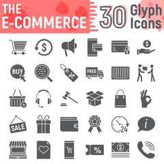 E commerce glyph icon set, Online store symbols collection, vector sketches, logo illustrations, internet shopping signs solid pictograms package isolated on white background, eps 10.