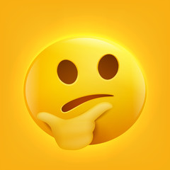 Thinking face emoji cartoon character yellow smiley face emoticon