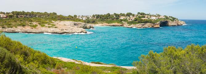Landscape of the beautiful bay of Cala Mandia with a wonderful turquoise sea,Porto Cristo, Majorca, Spain