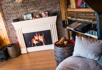 Fireplace in modern interior of living room