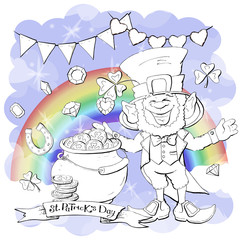 Funny leprechaun holding clover leaf like. Coloring book.