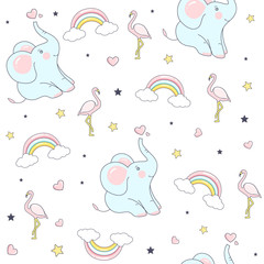 Seamless pattern with cute elephants. Vector  Illustration