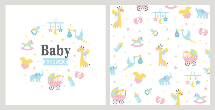 Baby Shower card. Vector illustration