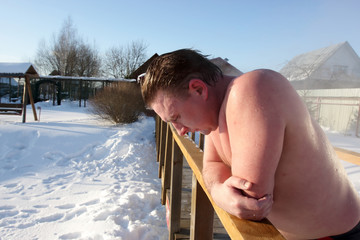 Man resting after sauna