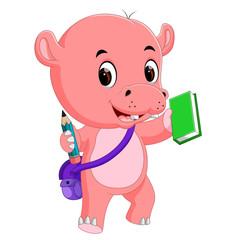 Cute hippo go to school