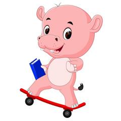 cute hippo playing skateboard