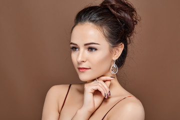 beautiful girl with makeup and hairdo