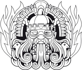 ancient Scandinavian god Odin, illustration