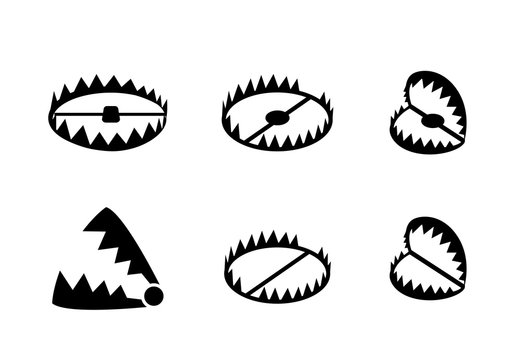 Set of bear trap icons and symbol in vector design