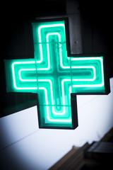 Luminous green cross