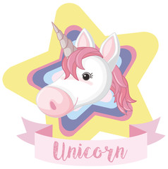 Unicorn on colorful star with word