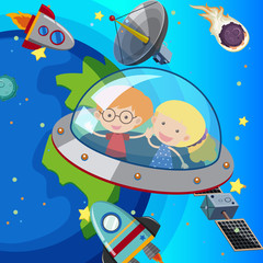 Two kids flying in spaceship