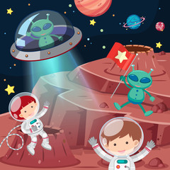Astronauts and aliens exploring space