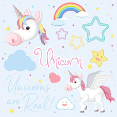 Background design with cute unicorn and stars