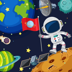 Background scene with astronaut in space