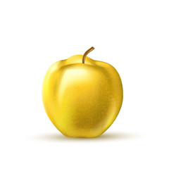 Vector realistic yellow apple fruit 3d isolated