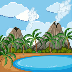 Background scene with volcano and lake