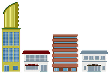 Four designs of office buildings and shops